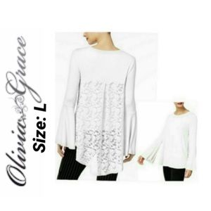 High-low Lace-back Top Flare Sleeves NWT L